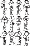 Whiteboard drawing - cartoon man figures. Black and white isolated line vector illustration for coloring page or whiteboard presentation drawing or animation Stock Photos