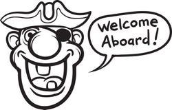 Whiteboard drawing - cartoon motivation sticker - welcome aboard Stock Photos