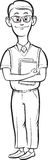 Whiteboard drawing - cartoon nerd man smiling Stock Image