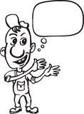 Whiteboard drawing - cartoon repairman with speech bubble Royalty Free Stock Image