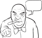 Whiteboard drawing - cartoon serious boss with speech bubble Stock Photography