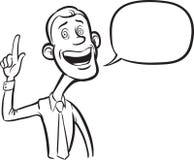 Whiteboard drawing - cartoon skinny businessman with speech bubb Royalty Free Stock Image