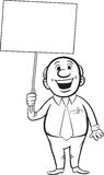 Whiteboard drawing - cartoon smiling businessman with blank plac Royalty Free Stock Photography