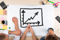 Whiteboard with drawing chart Royalty Free Stock Photos