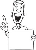 Whiteboard drawing - cheerful businessman pointing finger Stock Photo
