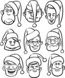 Whiteboard drawing - comic men faces in Santa hats Stock Photography