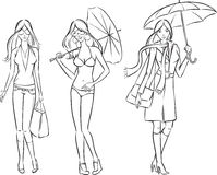 Whiteboard drawing - Fashion girls in various clothes. Black and white isolated line vector illustration for coloring page or whiteboard presentation drawing or Stock Photography