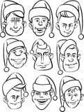 Whiteboard drawing - funny men faces in santa hats. Black and white isolated line vector illustration for coloring page or whiteboard presentation drawing or Royalty Free Stock Photography