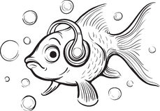 Whiteboard drawing - goldfish music fan with headphones Royalty Free Stock Photography