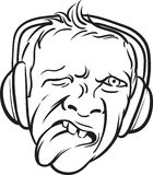 Whiteboard drawing - grimace face tongue out with headphones Royalty Free Stock Images
