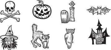 Whiteboard drawing - Halloween icons and design elements Royalty Free Stock Photo