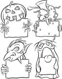 Whiteboard drawing - Halloween monsters. Black and white isolated line vector illustration for coloring page or whiteboard presentation drawing or animation Royalty Free Stock Photos