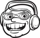 Whiteboard drawing - happy face with headphones Royalty Free Stock Images