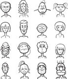 Whiteboard drawing - humor cartoon faces collection Stock Images