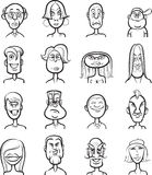 Whiteboard drawing - humor cartoon faces vector collection Royalty Free Stock Photography