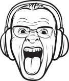 Whiteboard drawing - mad face sticking tongue with headphones Royalty Free Stock Images