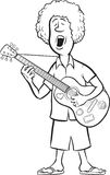 Whiteboard drawing - man with acoustic guitar singing Royalty Free Stock Image