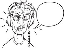 Whiteboard drawing - nerd with headphones royalty free illustration