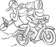 Whiteboard drawing - paparazzi riding motorbike on full speed Royalty Free Stock Images