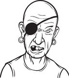 Whiteboard drawing - portrait of furious pirate Royalty Free Stock Images