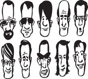 Whiteboard drawing - set of cartoon oblong faces Stock Photo