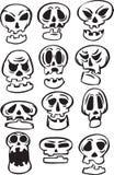 Whiteboard drawing - set of cartoon skulls Stock Photo