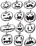 Whiteboard drawing - set of Halloween pumpkins Stock Image