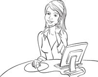 Whiteboard drawing - smiling business woman with headset stock illustration