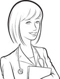 Whiteboard drawing - smiling woman doctor with papers Royalty Free Stock Image