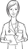 Whiteboard drawing - smiling woman doctor writing on clipboard Royalty Free Stock Image