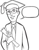 Whiteboard drawing - standing smiling graduate royalty free illustration