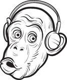 Whiteboard drawing - surprised chimp with headphones royalty free illustration