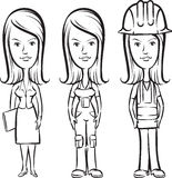 Whiteboard drawing - three cartoon women professionals royalty free illustration