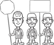 Whiteboard drawing - three cartoon workers with signs. Black and white isolated line vector illustration for coloring page or whiteboard presentation drawing or Stock Photography