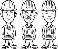 Whiteboard drawing - three cartoon workers various ethnicity vector illustration