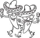 Whiteboard drawing - two dancing cartoon mexican peppers Royalty Free Stock Image