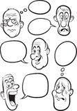 Whiteboard drawing - various emotion faces with speech balloons Stock Photos
