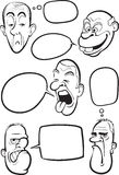 Whiteboard drawing - various emotion faces with speech balloons Royalty Free Stock Image