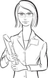 Whiteboard drawing - woman doctor with folder Royalty Free Stock Photos