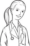 Whiteboard drawing - woman doctor with ponytail Royalty Free Stock Photo