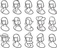Whiteboard drawing - women icon set Stock Photography
