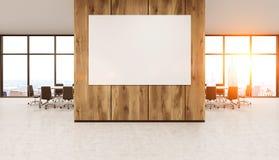 Whiteboard en la pared de madera de la oficina stock de ilustración