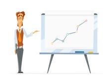 Whiteboard för kontorsman och flip-diagram för pappers- bräde stock illustrationer