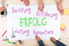 Whiteboard with german text, top view Royalty Free Stock Photo