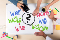 Whiteboard with german words Stock Photos