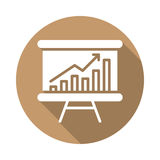 Whiteboard with growing chart flat icon Stock Images