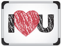 Whiteboard with I Love Heart You Message Stock Photography