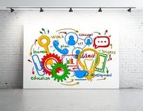 Whiteboard med färgrik affär skissar Arkivfoton