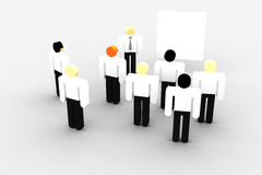 Whiteboard meeting. Group of iconographic business persons meeting in front of a whiteboard Royalty Free Stock Photo