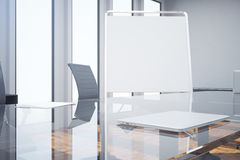 Whiteboard in meeting room closeup. Close up of blank whiteboard stand in modern meeting room interior with daylight. Mock up, 3D Rendering Stock Photos